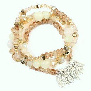 Riah Beaded Stretch Bracelet Set Cream Gold Multi